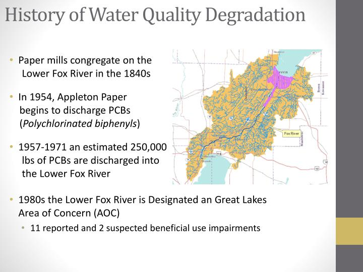 History of water quality degradation