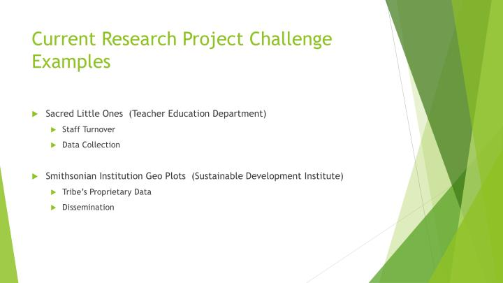Current Research Project Challenge Examples