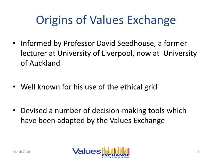 Origins of values exchange
