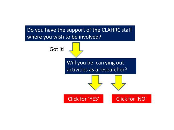 Do you have the support of the CLAHRC staff where you wish to be involved?