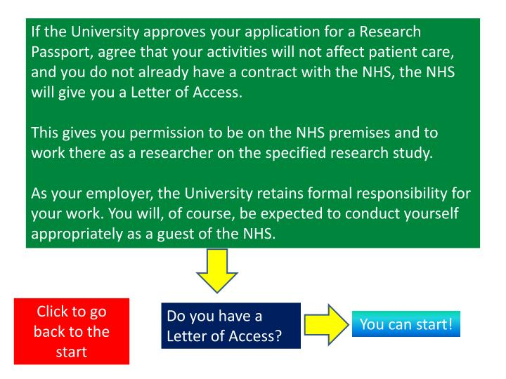 If the University approves your application for a Research Passport, agree that your activities will not affect patient care, and you do not already have a contract with the NHS, the NHS will give you a Letter of Access.