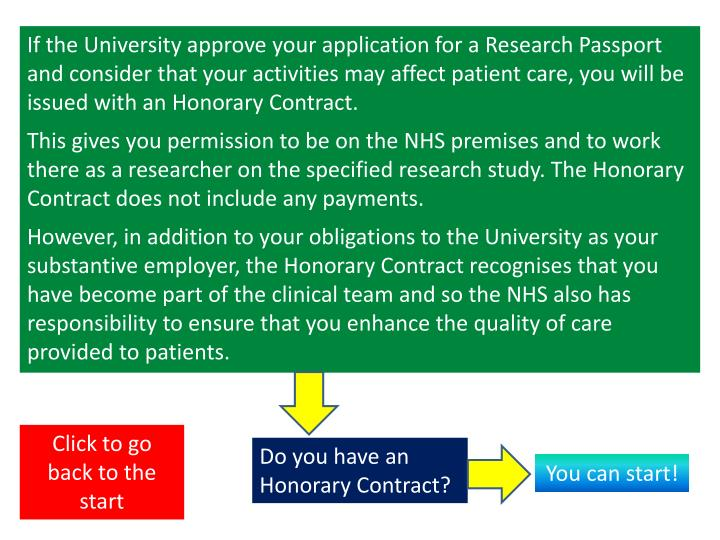If the University approve your application for a Research Passport  and consider that your activities may affect patient care, you will be issued with an Honorary Contract.