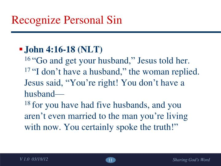 Recognize Personal Sin