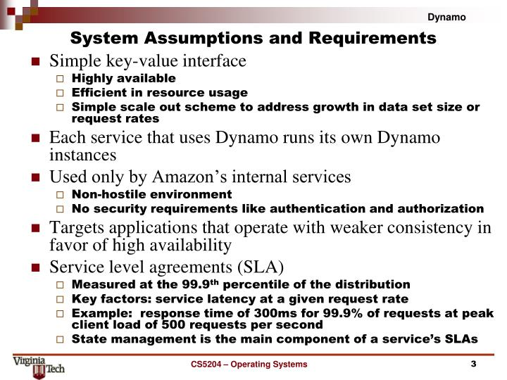 System assumptions and requirements