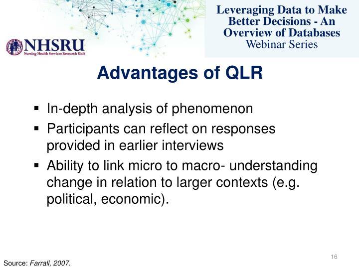 Advantages of QLR