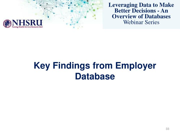 Key Findings from Employer Database