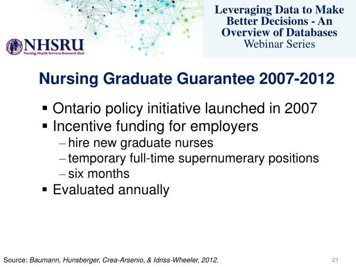Nursing Graduate Guarantee 2007-2012