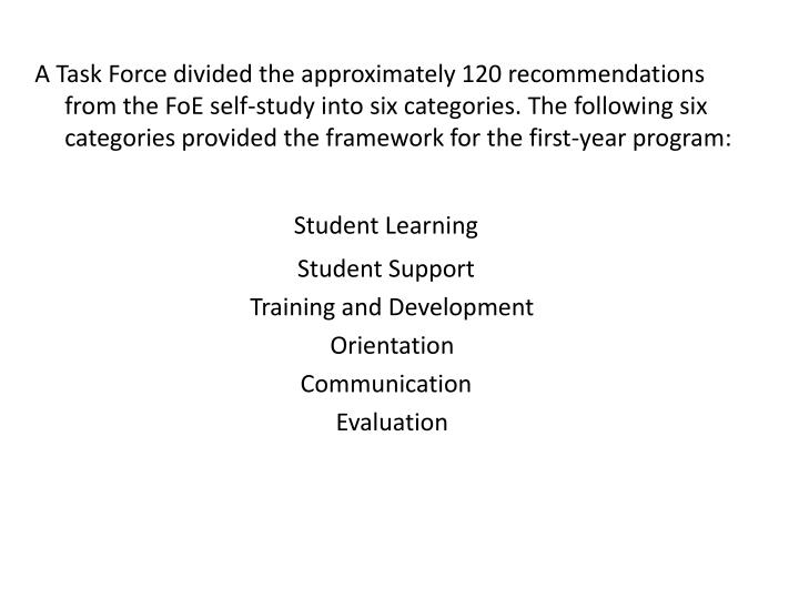 A Task Force divided the approximately 120 recommendations from the