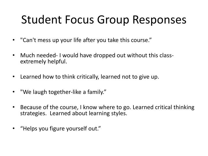 Student Focus Group Responses
