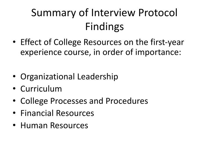 Summary of Interview Protocol Findings