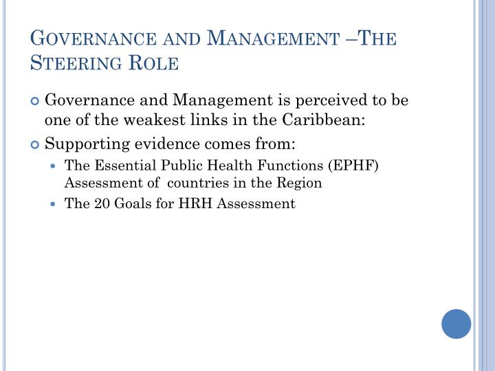Governance and Management –The Steering Role