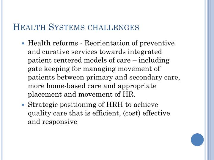Health Systems challenges
