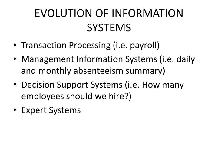 EVOLUTION OF INFORMATION SYSTEMS