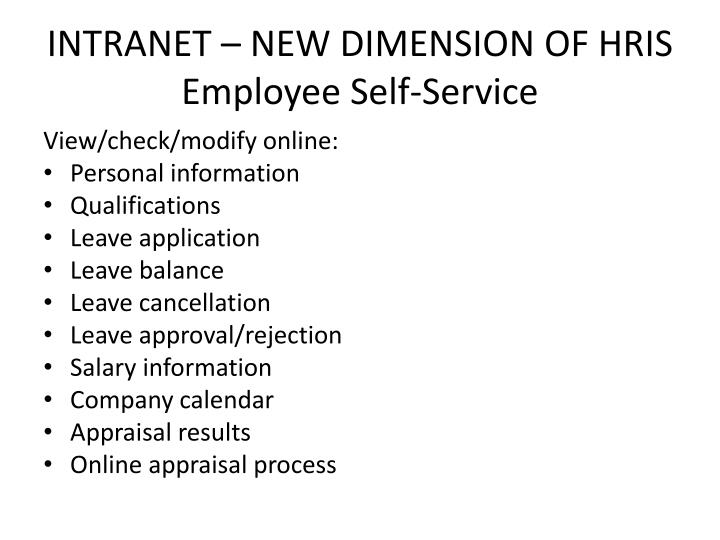 INTRANET – NEW DIMENSION OF HRIS
