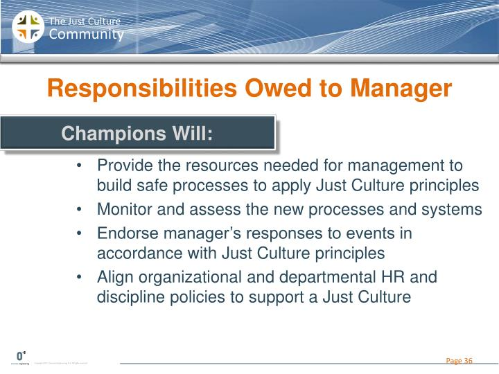 Responsibilities Owed to Manager