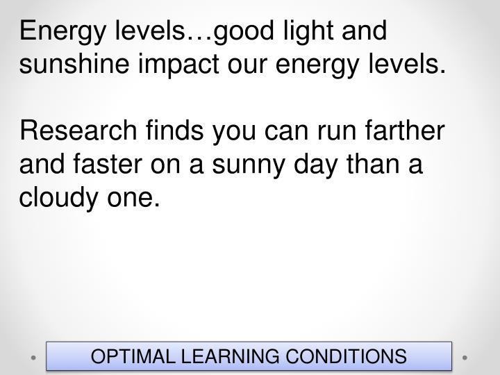 Energy levels…good light and sunshine impact our energy levels.