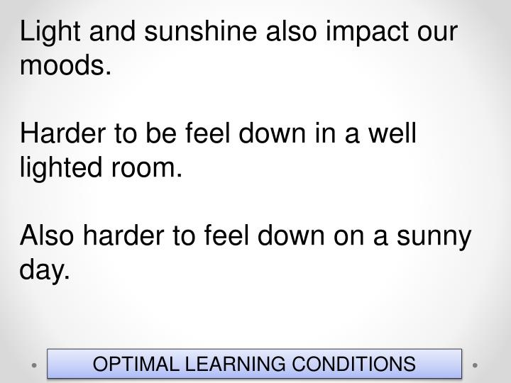 Light and sunshine also impact our moods.