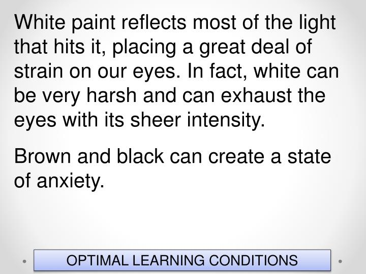 White paint reflects most of the light that hits it, placing a great deal of strain on our eyes. In fact, white can be very harsh and can exhaust the eyes with its sheer intensity