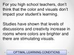 optimal learning conditions110