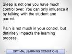 optimal learning conditions122
