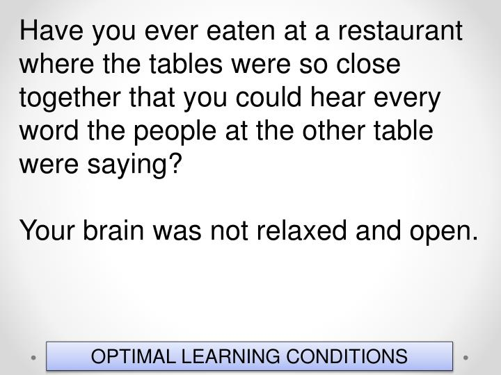 Have you ever eaten at a restaurant where the tables were so close together that you could hear every word the people at the other table were saying?