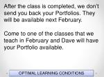 optimal learning conditions13