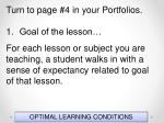 optimal learning conditions145