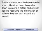 optimal learning conditions148