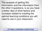 optimal learning conditions150