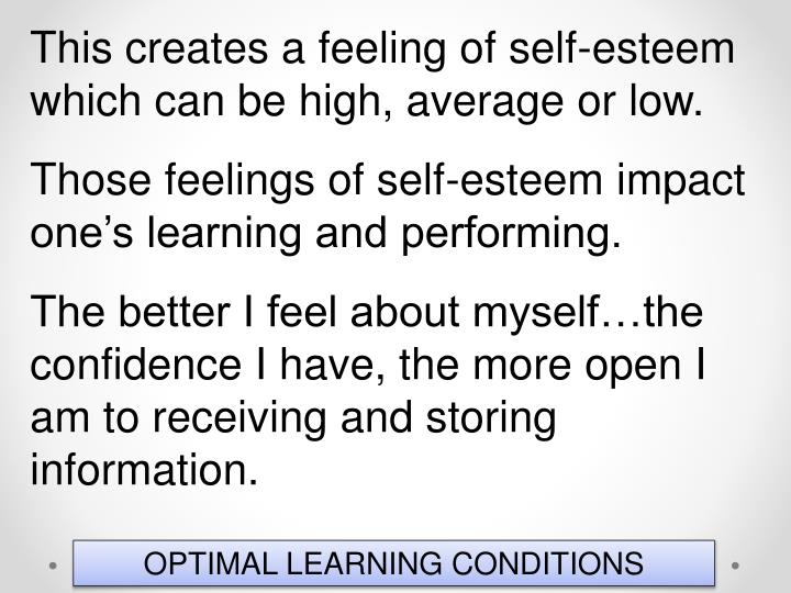 This creates a feeling of self-esteem which can be high, average or low.