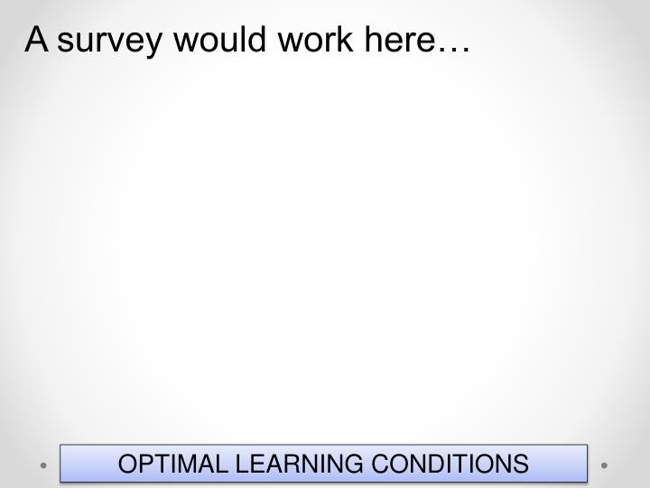A survey would work here…