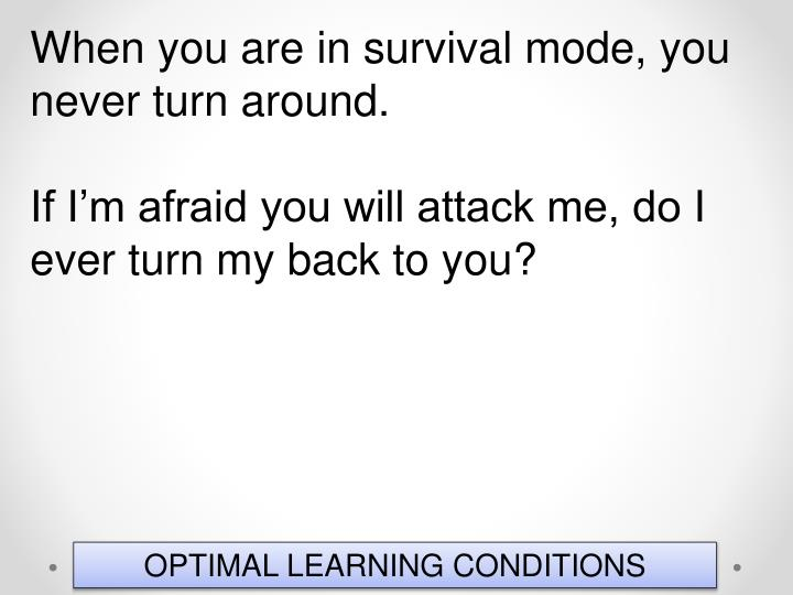When you are in survival mode, you never turn around.