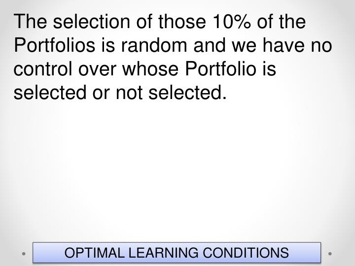 The selection of those 10% of the Portfolios is random and we have no control over whose Portfolio is selected or not selected.