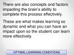 optimal learning conditions25