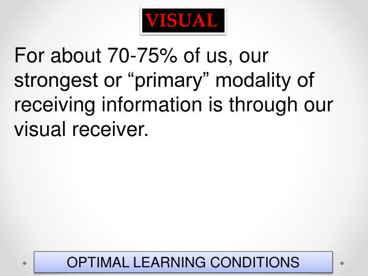 """For about 70-75% of us, our strongest or """"primary"""" modality of receiving information is through our visual receiver."""