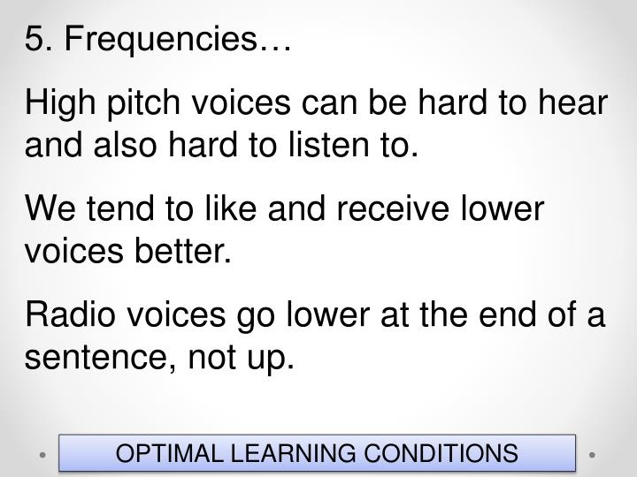5. Frequencies…