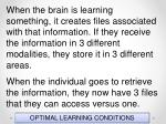 optimal learning conditions55