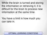 optimal learning conditions62