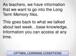 optimal learning conditions66