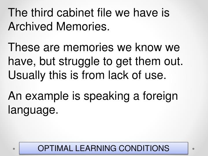The third cabinet file we have is Archived Memories.