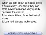 optimal learning conditions73