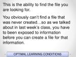 optimal learning conditions77