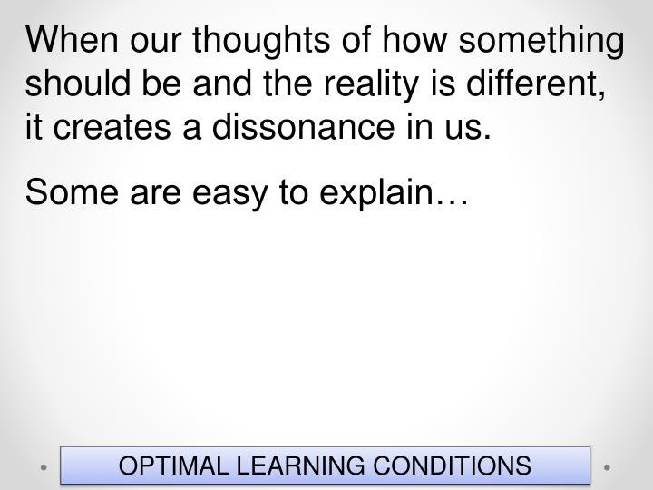 When our thoughts of how something should be and the reality is different, it creates a dissonance in us.