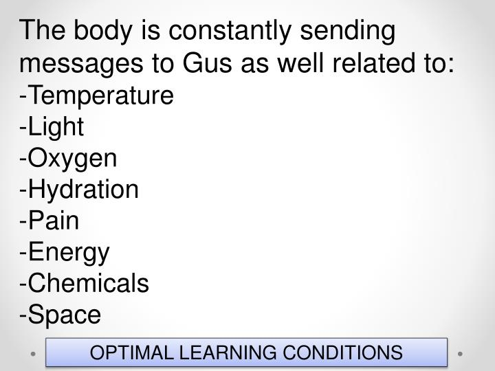 The body is constantly sending messages to Gus as well related to: