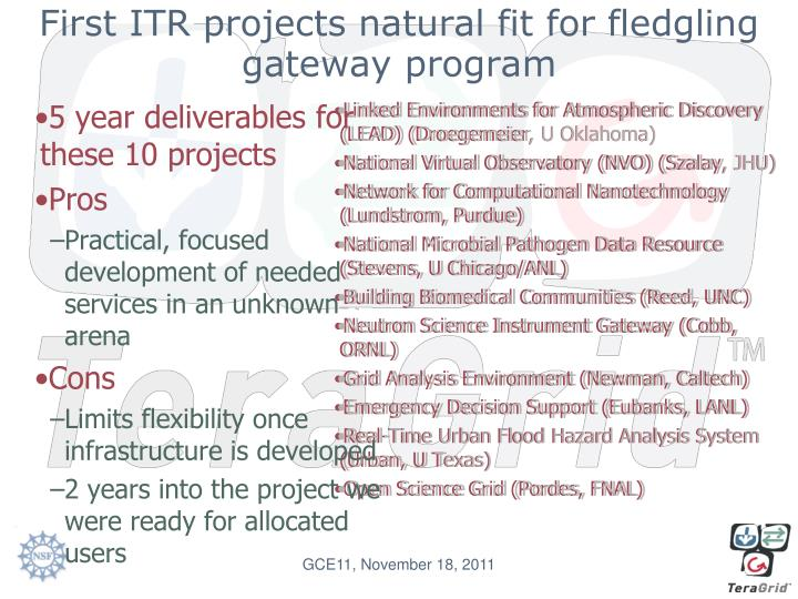 First ITR projects natural fit for fledgling gateway program
