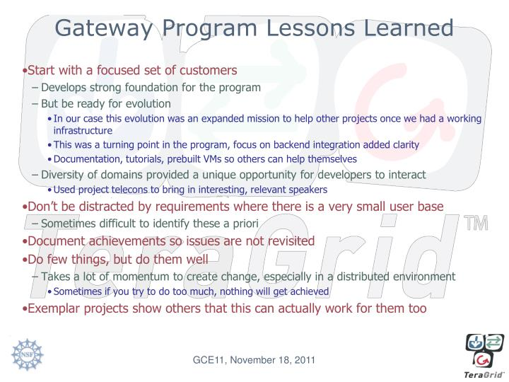 Gateway Program Lessons Learned
