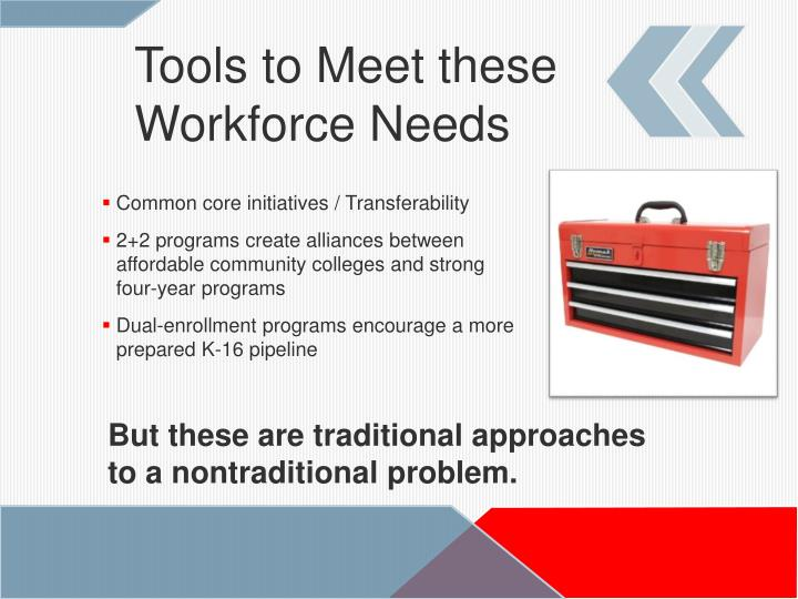 Tools to Meet these Workforce Needs