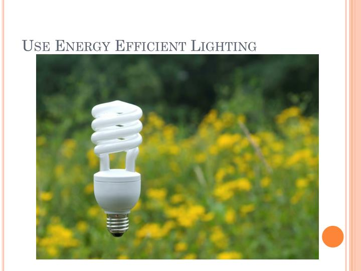 Use energy efficient lighting