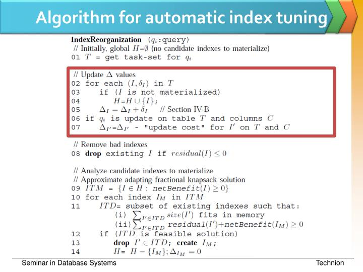 Algorithm for automatic index tuning