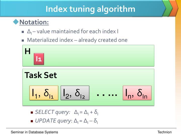Index tuning algorithm